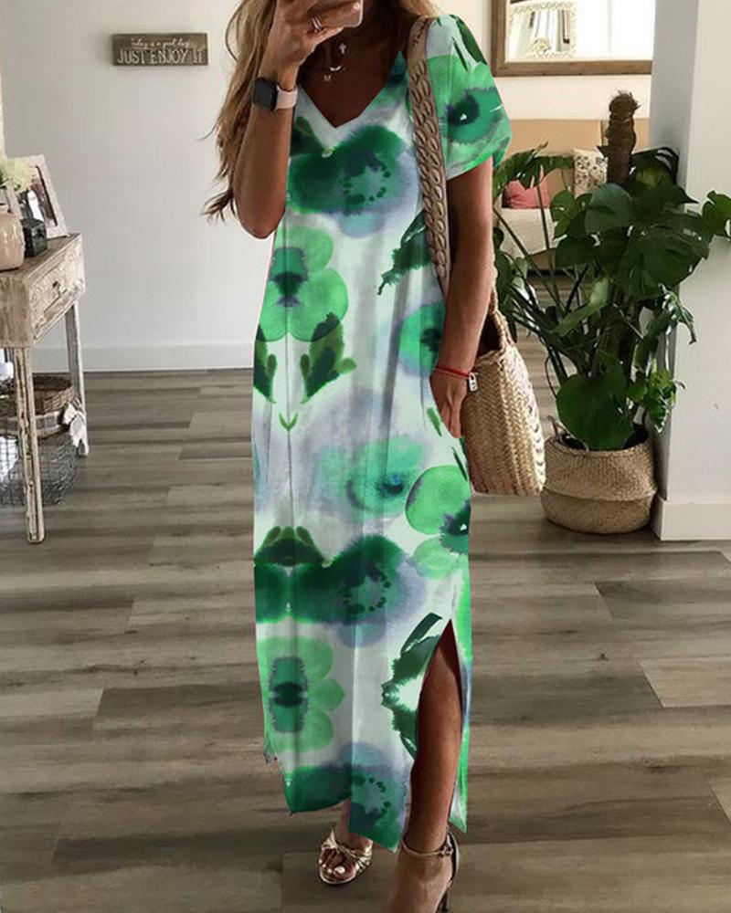 Floral Print Short Sleeve Slit Loose Midi Dress, boutiquefeel, green  - buy with discount