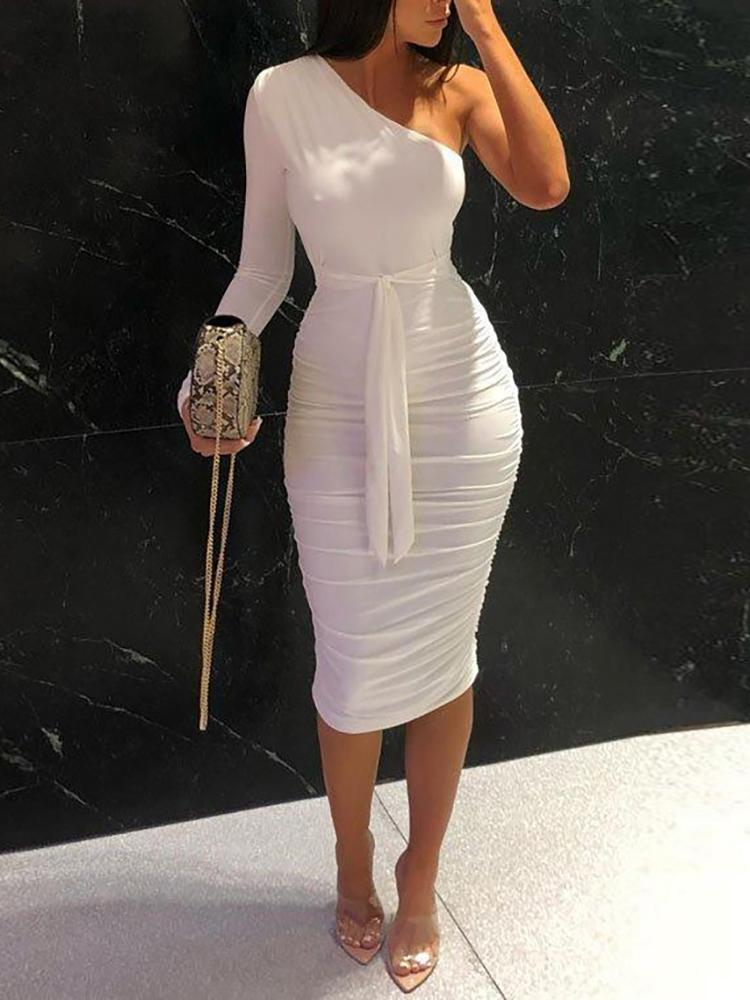 boutiquefeel / One Shoulder Ruched Design Bodycon Dress