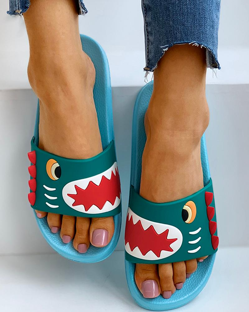 Open Toe Cartoon Pattern Flat Sandals thumbnail