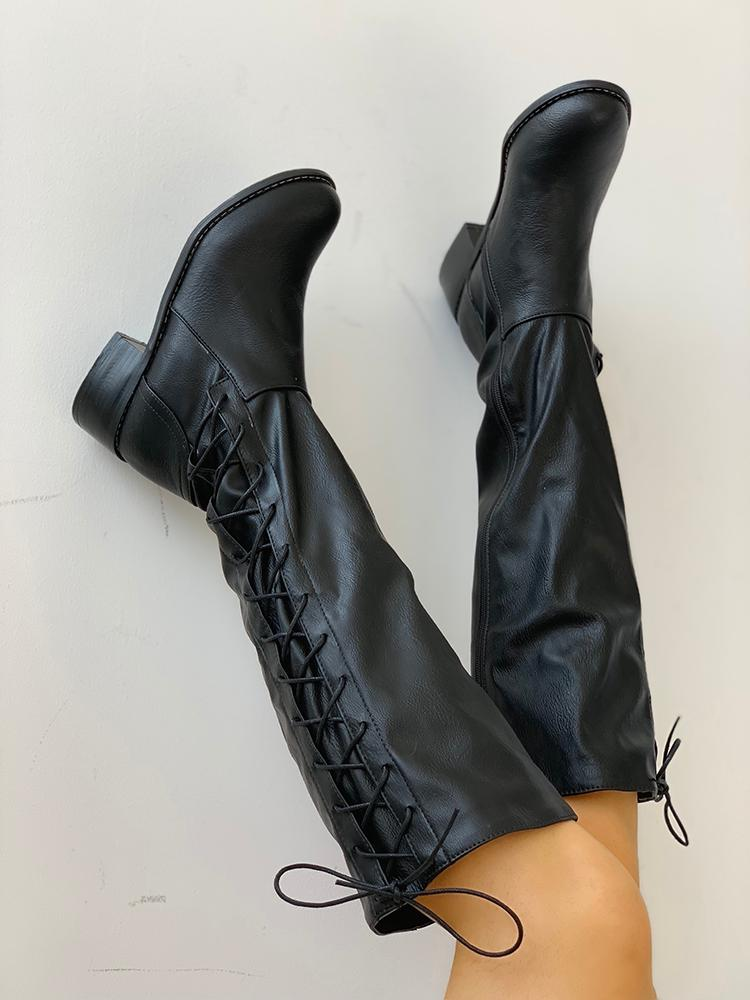 boutiquefeel / Lace-Up Chunky Heeled Boots