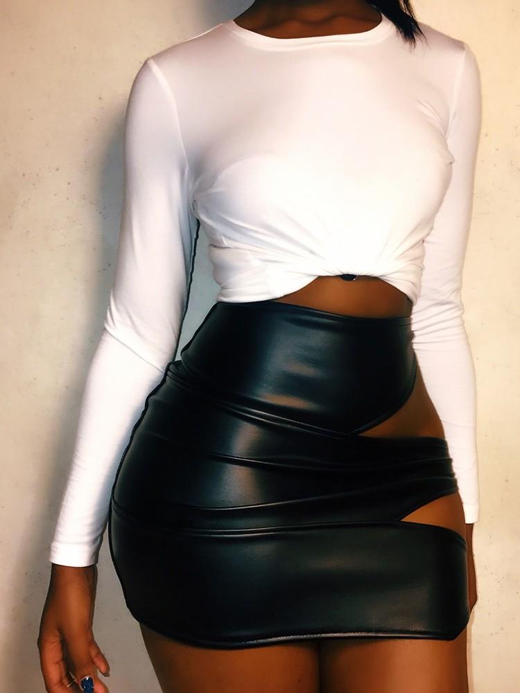 Cut Ou Clubwear PU Mini Skirt
