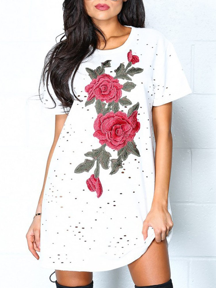 Alluring Embroidered Holey Casual T-shirt Dress