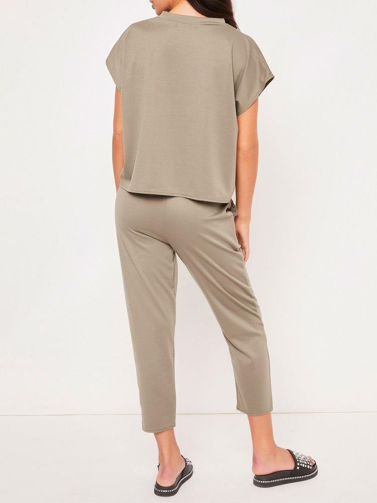 boutiquefeel / Solid Short Sleeve T-Shirt & Drawstring Pants Sets