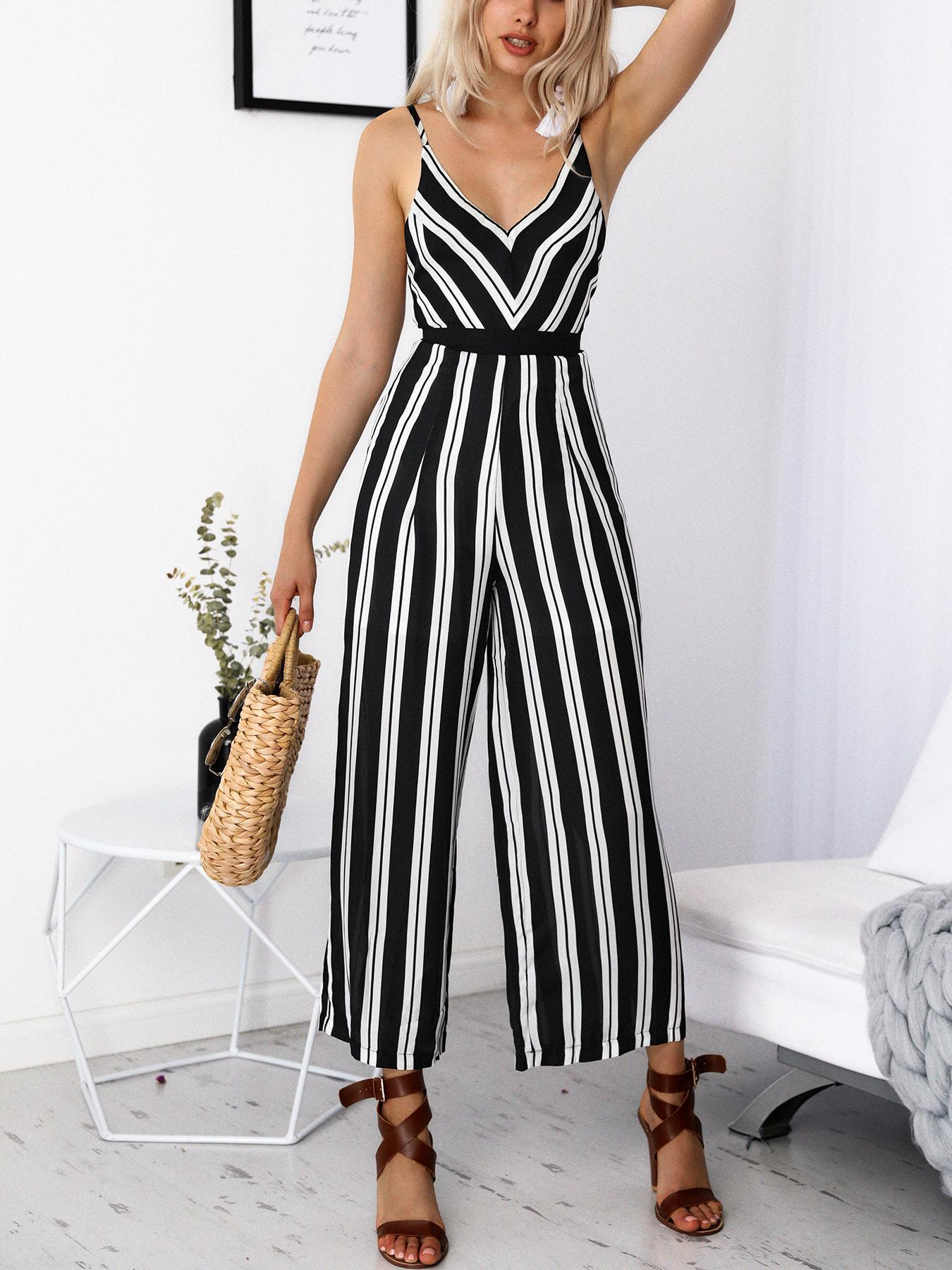 61695ab649b Striped Deep V Strappy Back Wide Leg Jumpsuit Online. Discover hottest  trend fashion at chicme.com