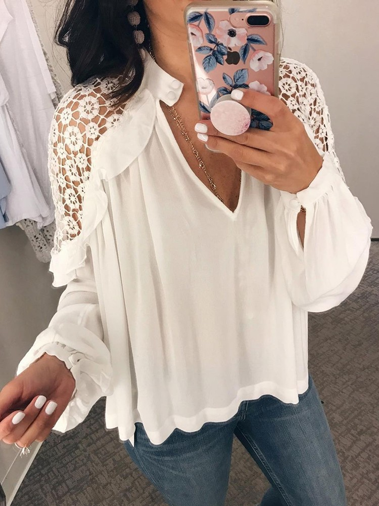 Deep V Hollow Out Babydoll Blouse
