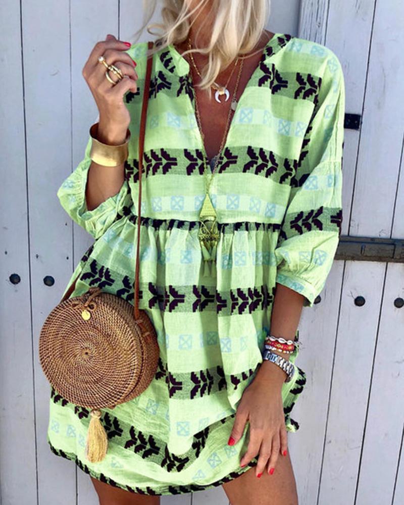 Ethnic Print V Neck Dress thumbnail