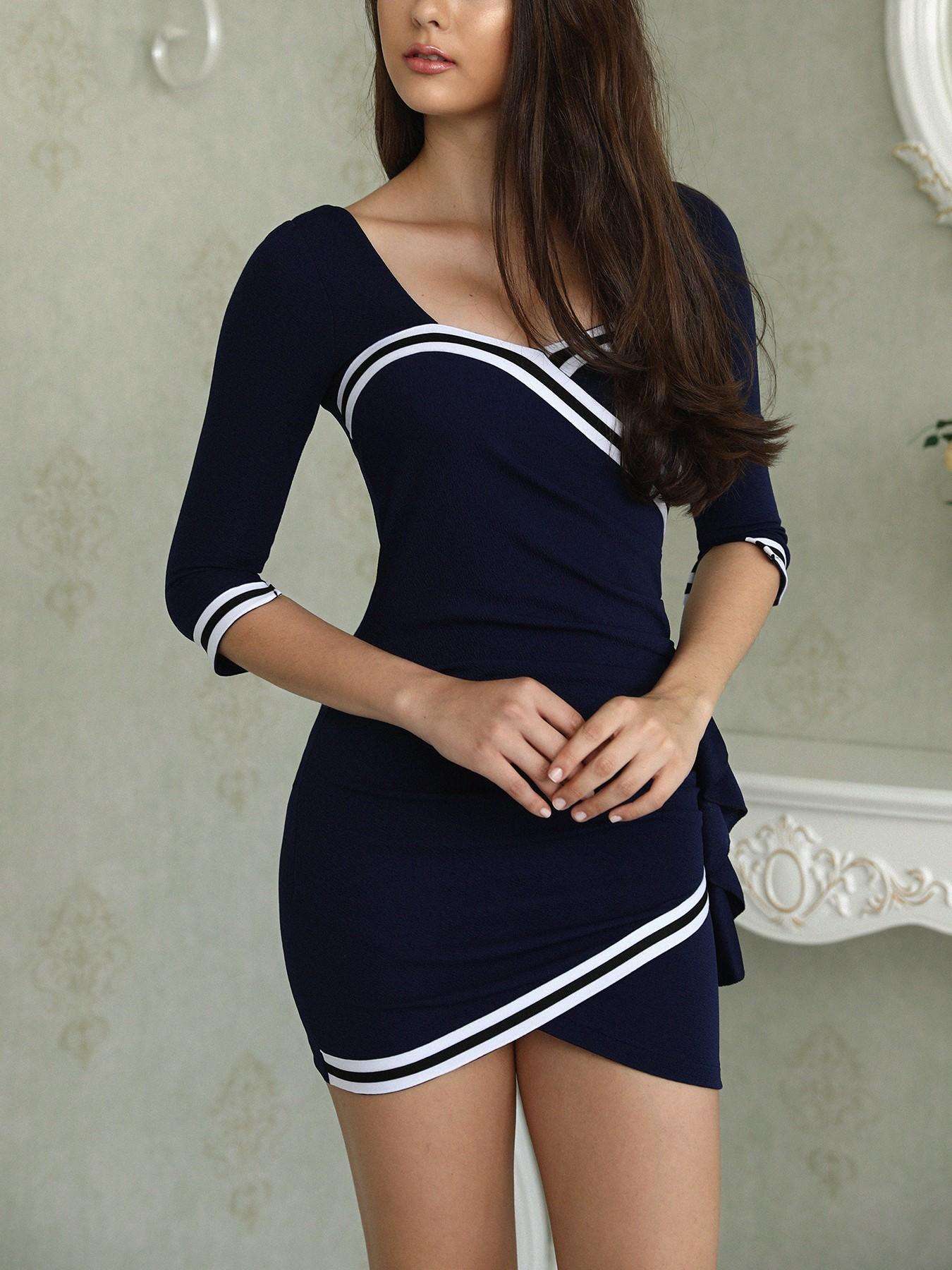 Contrast Binding Overlap Hem Sheath Dress