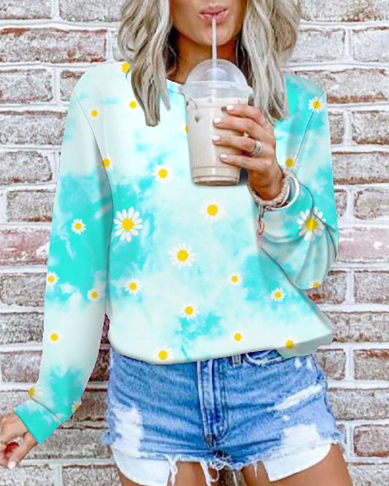 Tie Dye Daisy Print Long Sleeve Casual Sweatshirt thumbnail
