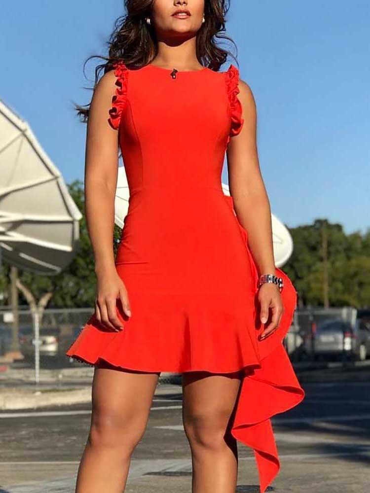 Ruffles Design Sleeveless Party Dress
