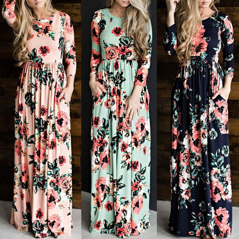 Vintage Women Shirring Waist Floral Maxi Dress thumbnail