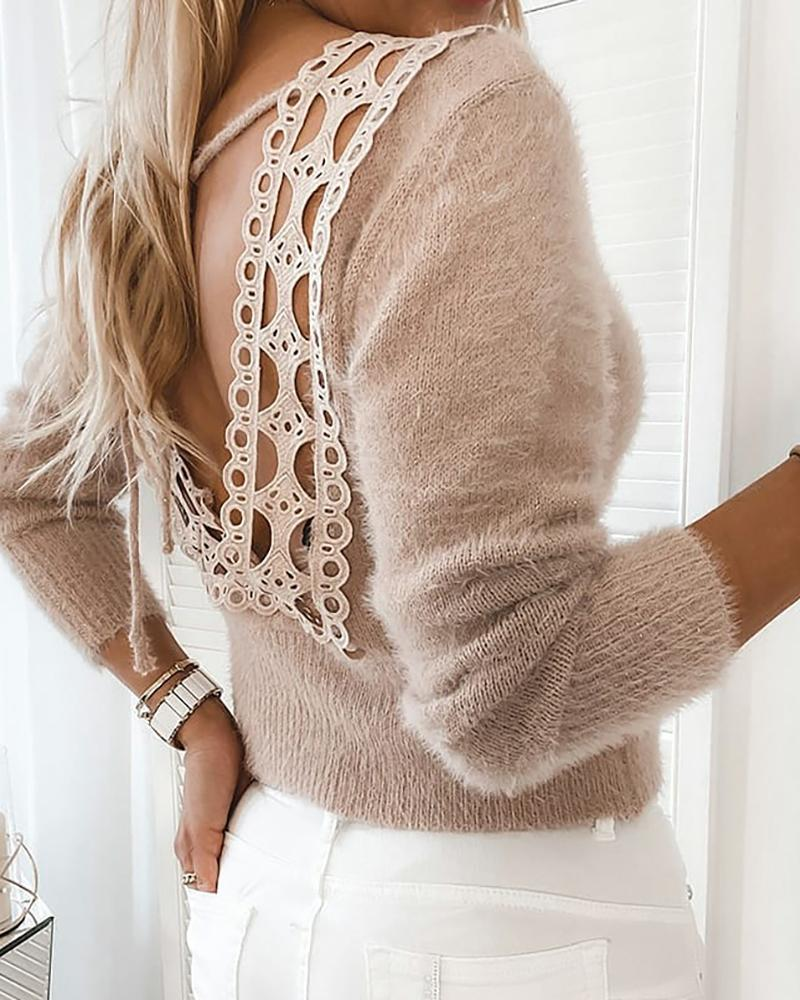 Fluffy Guipure Lace Backless Sweater thumbnail