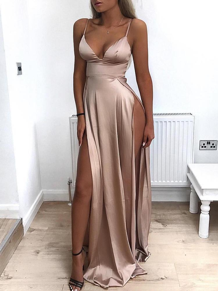 Low Cut High Slit Maxi Slip Dress Online. Discover hottest trend fashion at  chicme.com 26508eac5