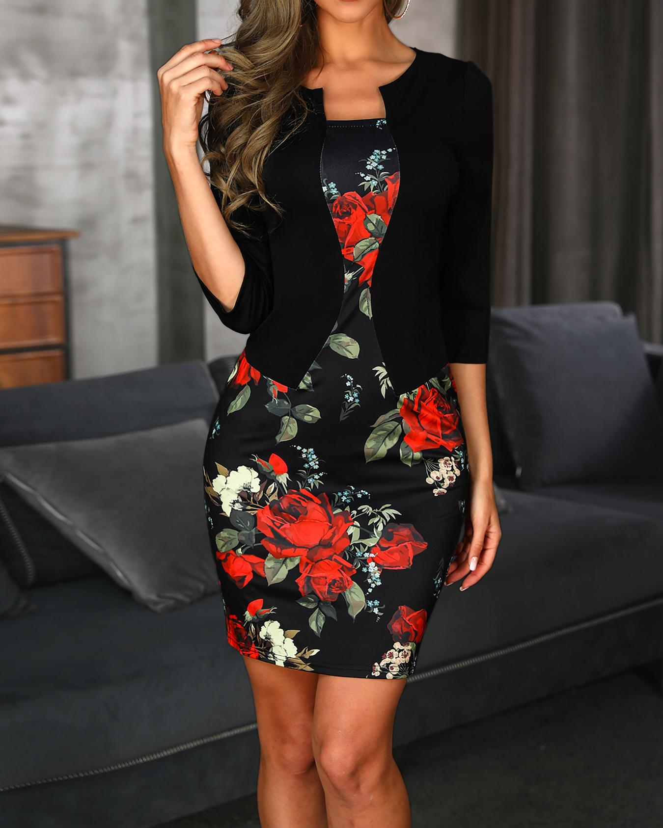 Floral Print Belted Fake Two Piece Dress