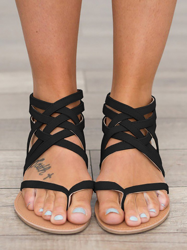 boutiquefeel / Ankle Wrap Strappy Zipper Back Flat Sandals