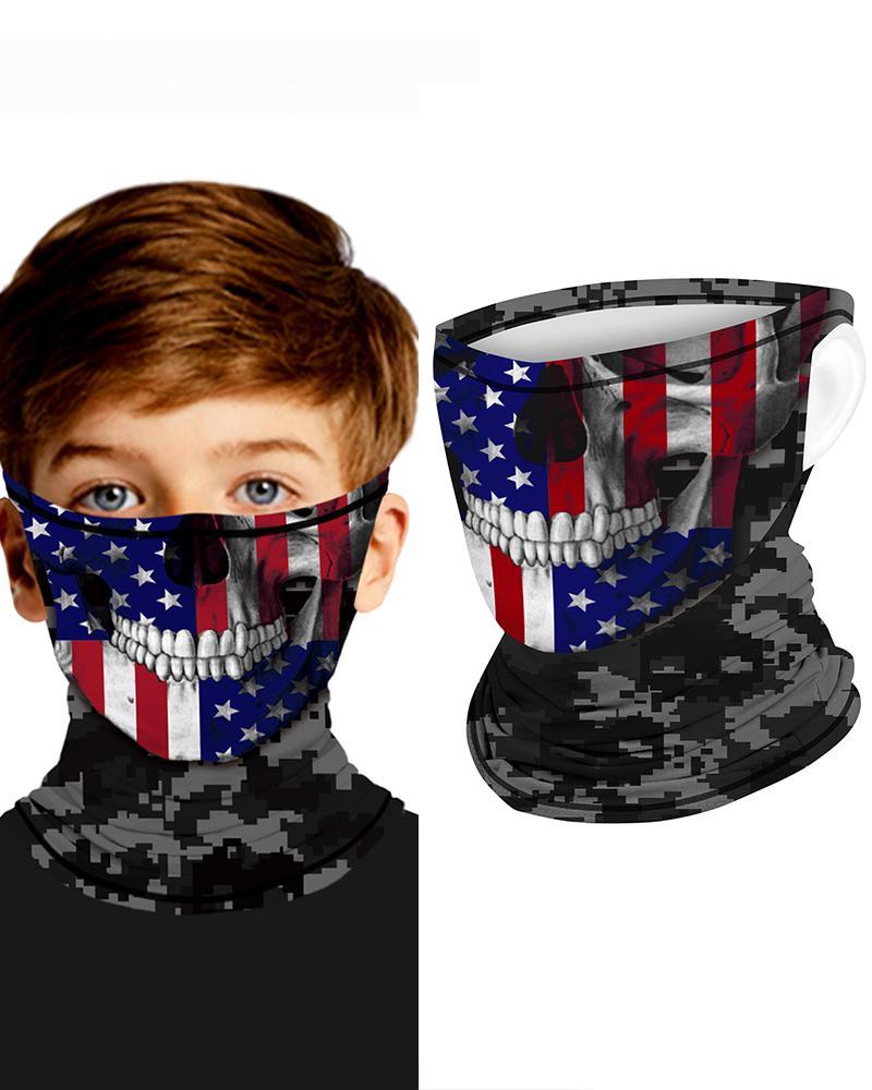 Skull Flag Print Breathable Ear Loop FaceBandana Headwrap For Children thumbnail