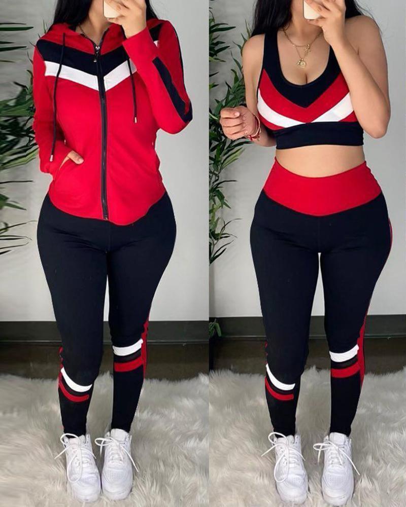 Colorblock Crop Top & High Waist Pants & Hooded Coat Set thumbnail