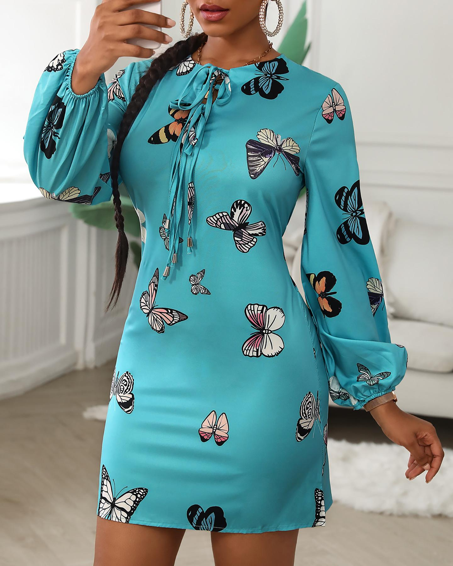 Butterfly Print Tie Front Long Sleeve Dress thumbnail