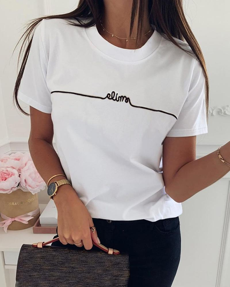 Letter Pattern Embroidery Casual T-shirt thumbnail
