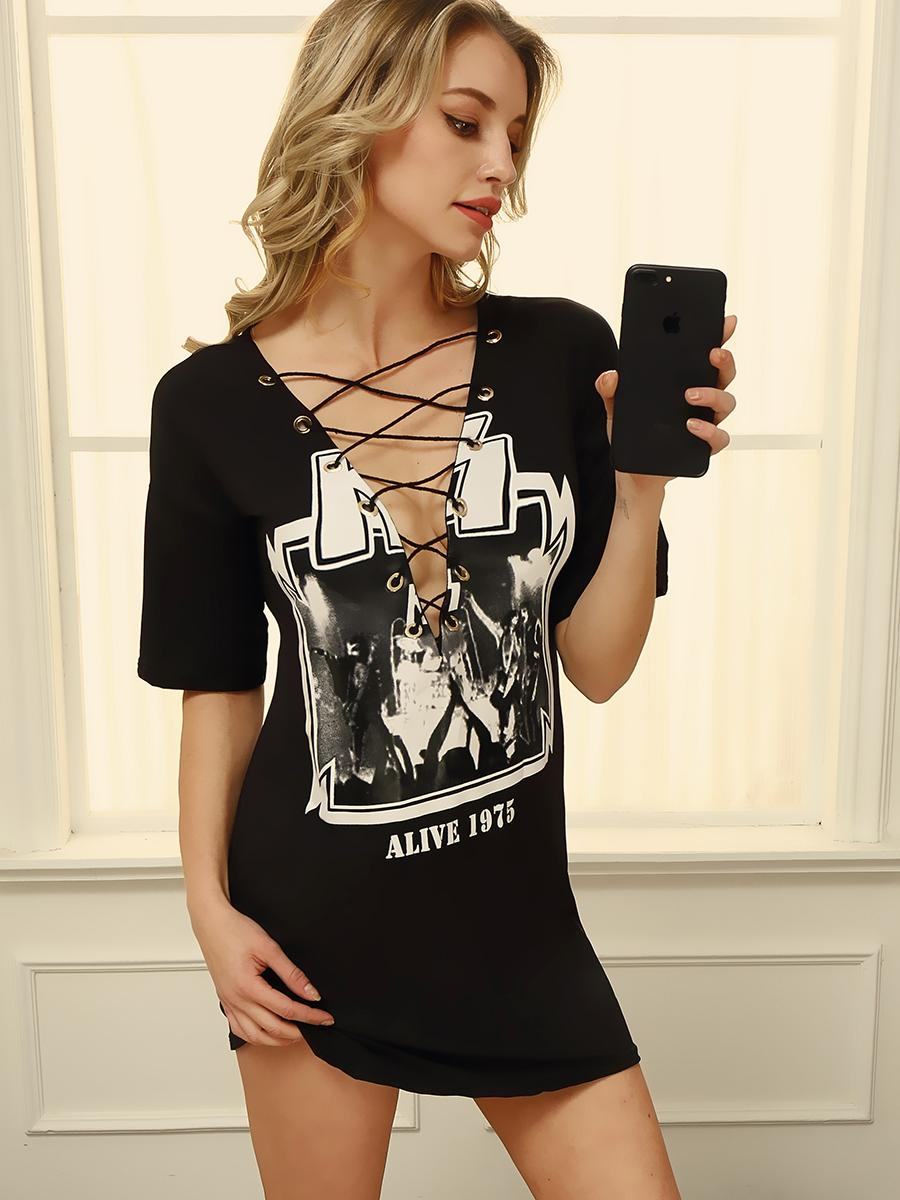 Fashion Women Rock Band Printed Lace-up T-shirt Online. Discover ... 13adcb634