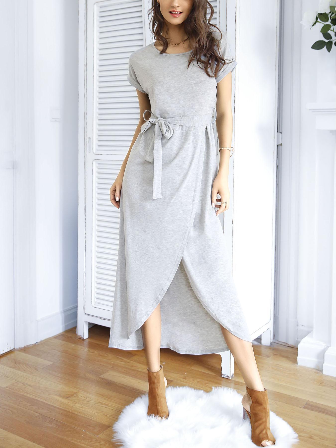 Ivrose coupon: Stylish Irregular Split Tied Waist Maxi Dress