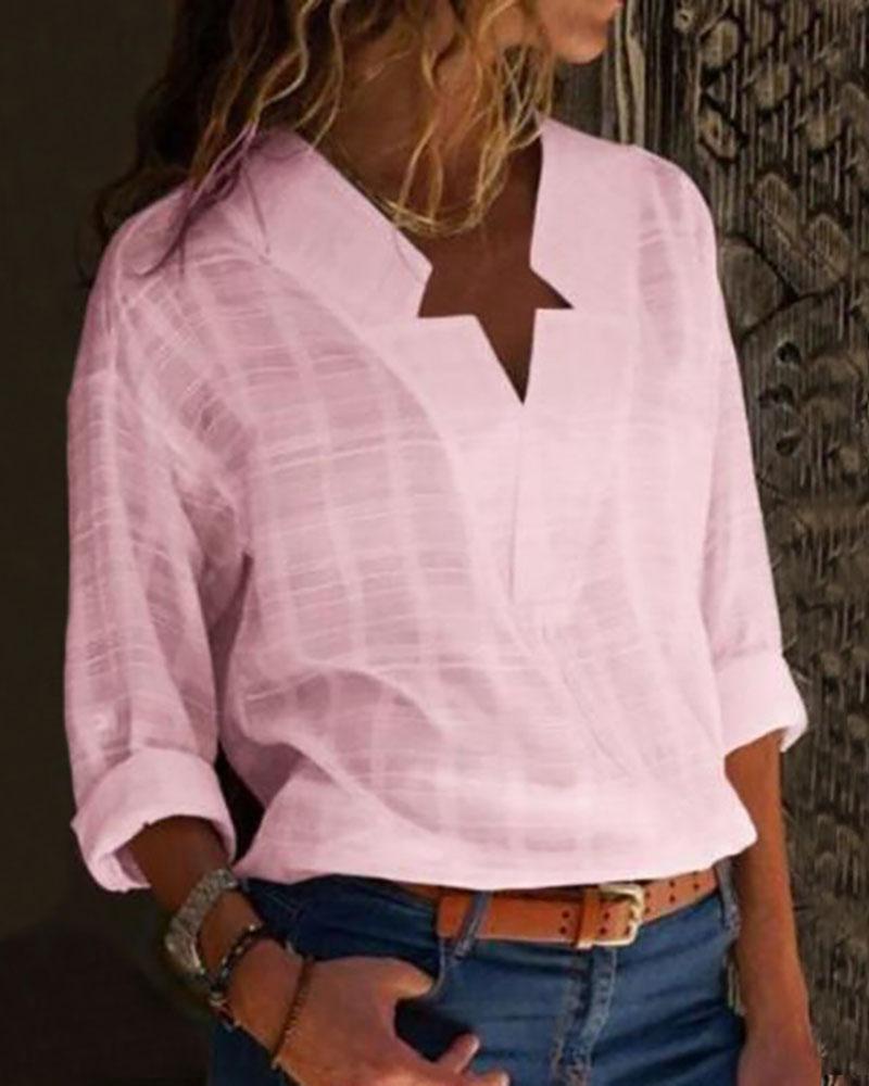 V-Neck Long Sleeve Casual Shirt