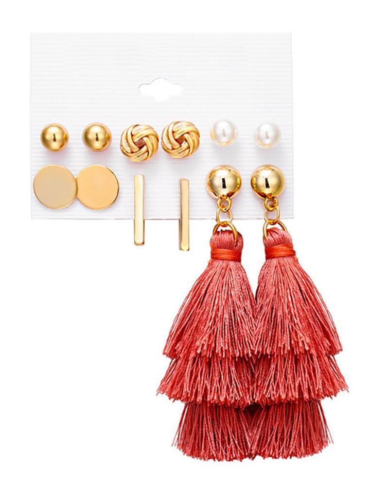 6 Pairs Beaded Hoop Tassel Ear Cuff Earring Set thumbnail