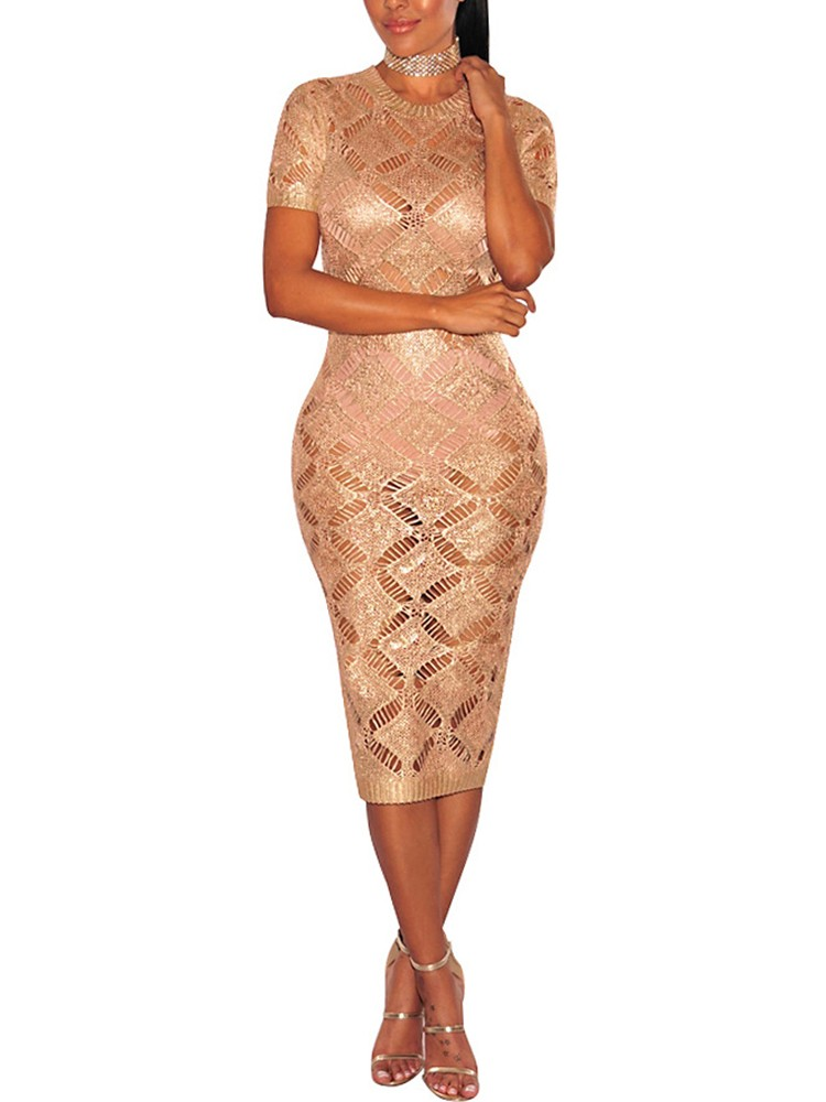 boutiquefeel / Fashion Crochet Hollow Out Bodycon Midi Dress