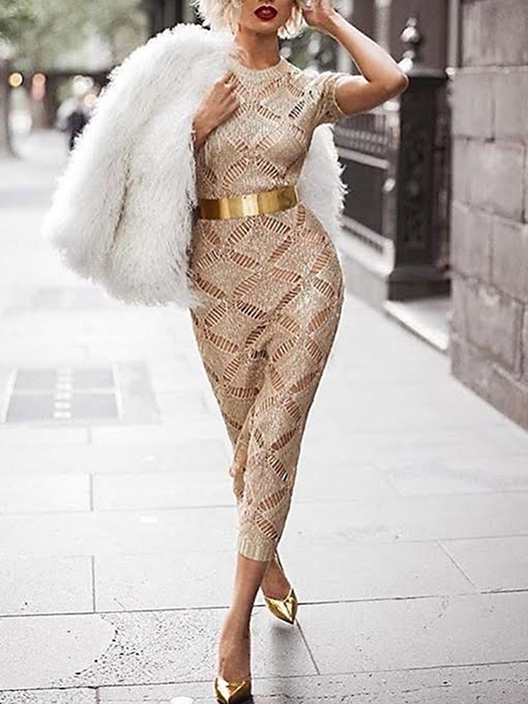 boutiquefeel / Fashion Crochet Hollow Out Bodycon Midi Dress