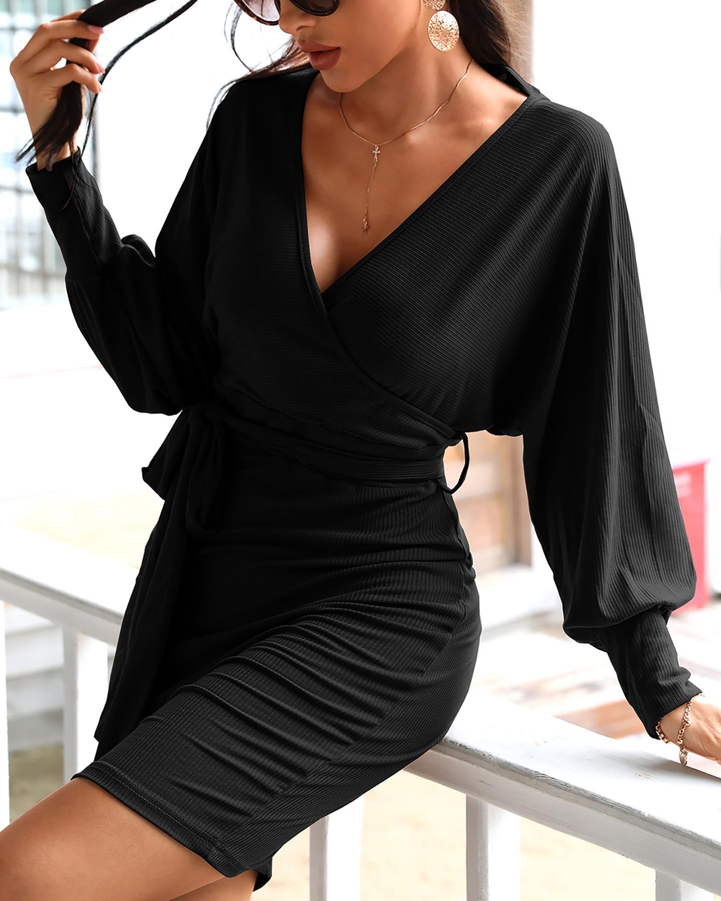 Surplice Wrap Batwing Sleeve Ribbed Dress thumbnail