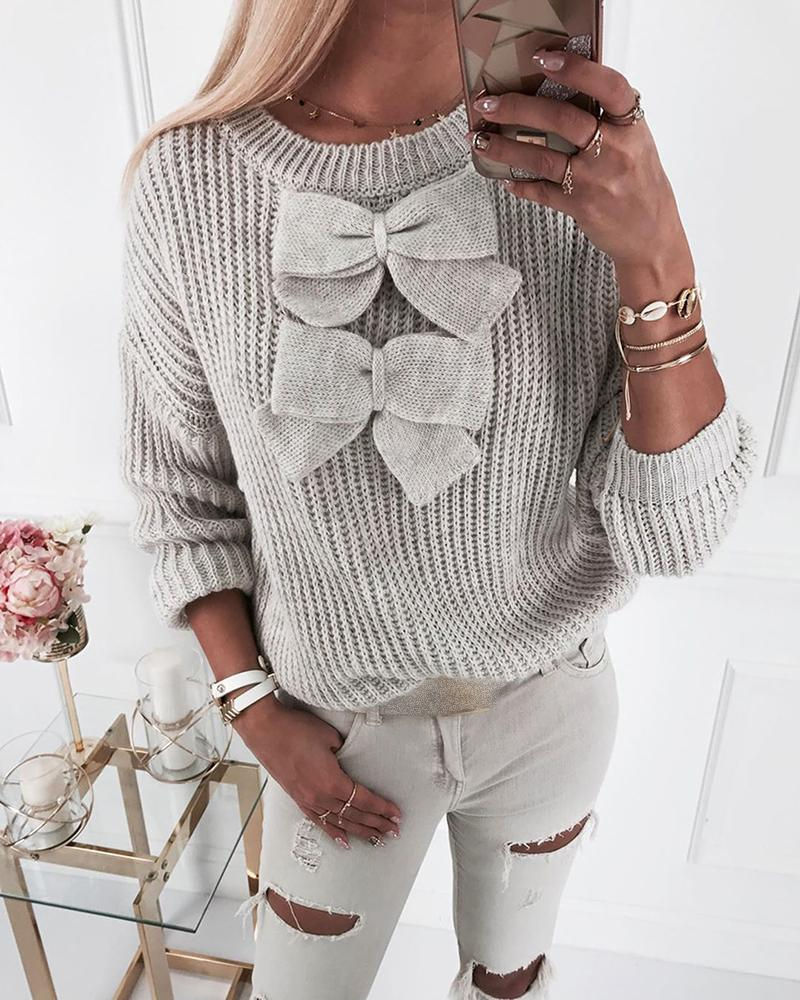 Bowknot Decor Knit Long Sleeve Sweater thumbnail