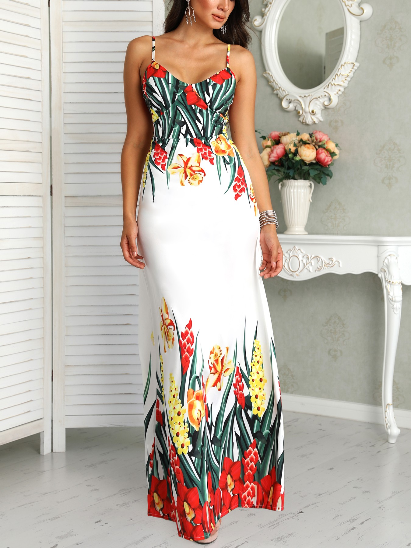 boutiquefeel / Floral Print Deep V Slip Maxi Dress