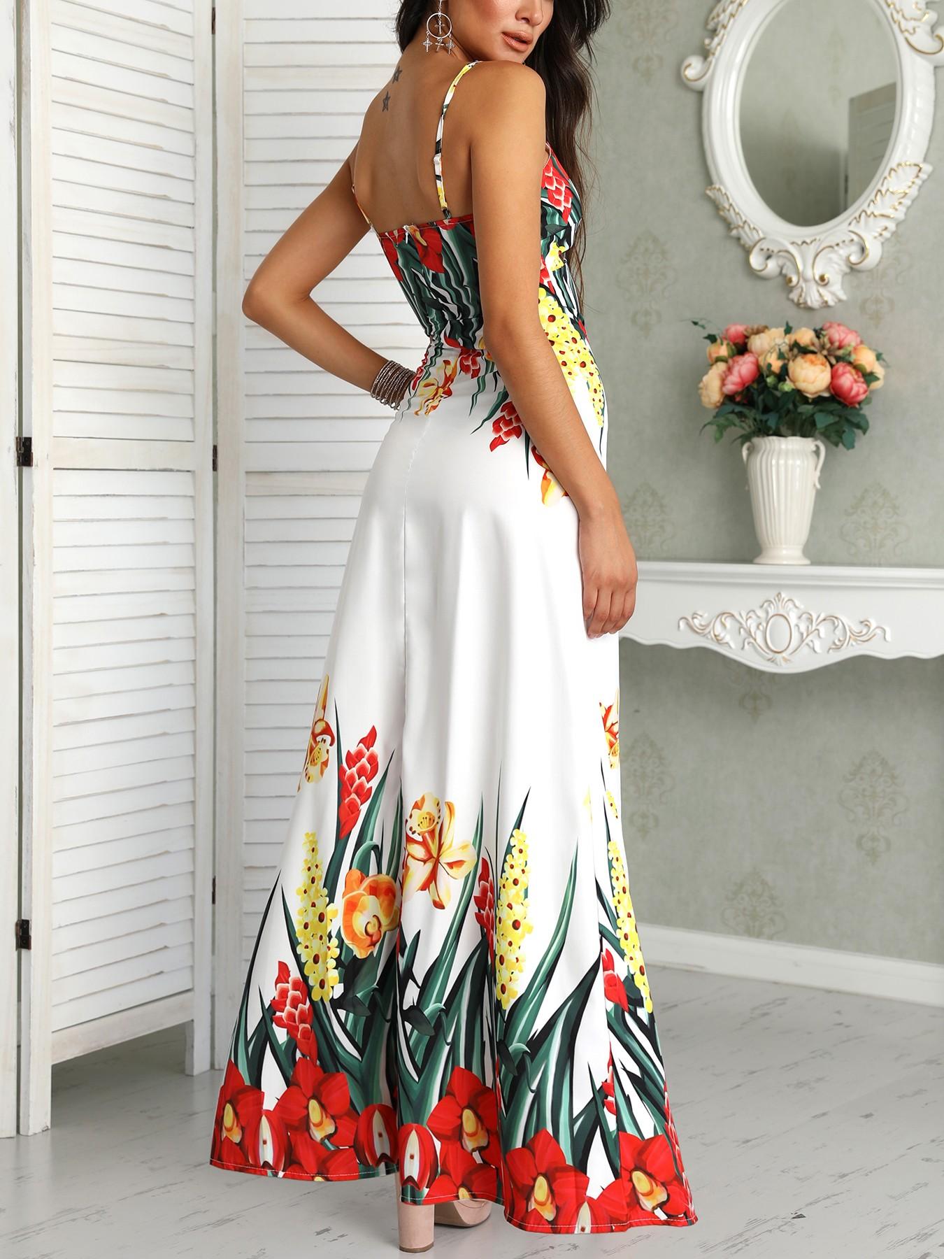 boutiquefeel / Floral Print Deep V Slip Maxi Dress
