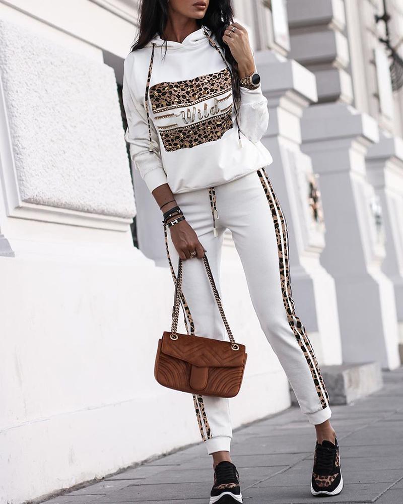 Leopard Hooded Top & Pants Sets