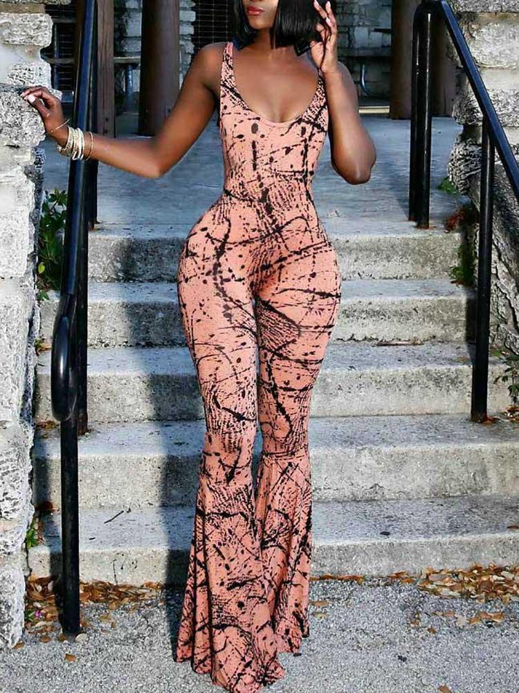 boutiquefeel / Graffiti Print Slinky Flared Jumpsuit