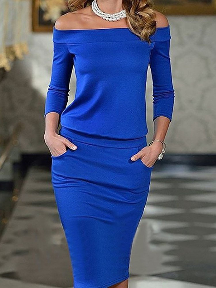 boutiquefeel / Elegant Slash Neck Pocket Bodycon Pencil Dress