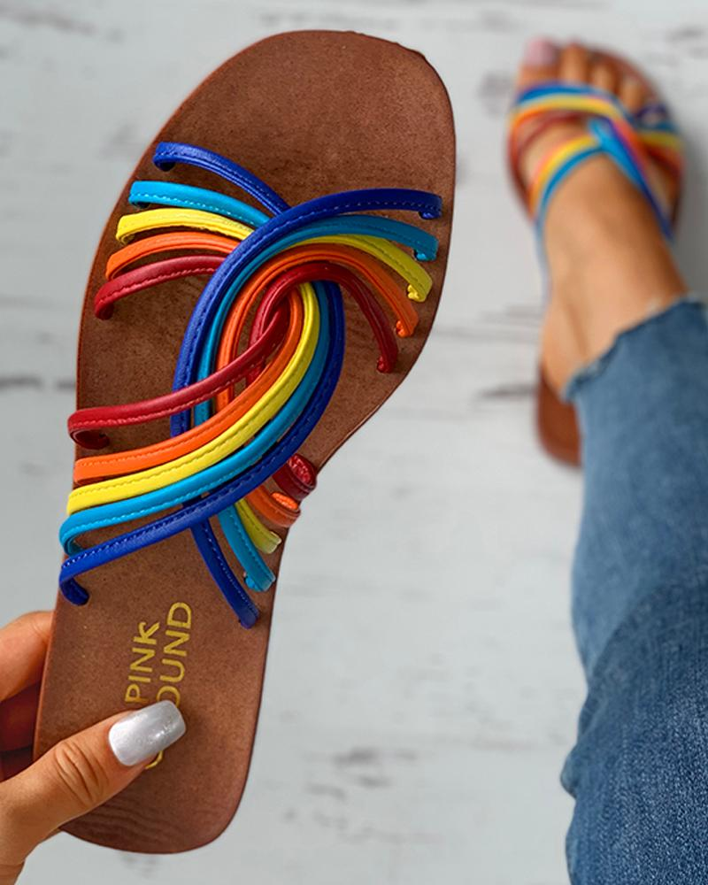 Colorblock Twisted Casual Flat Sandals thumbnail