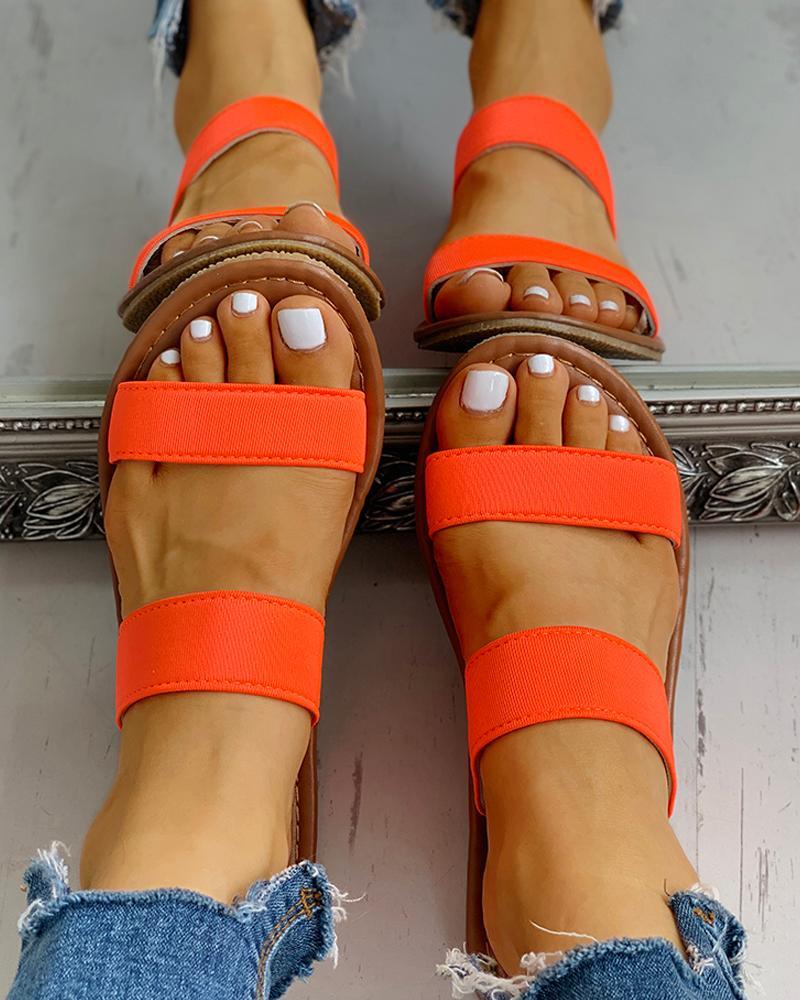 Double Strap Slipper Casual Flat Sandals thumbnail