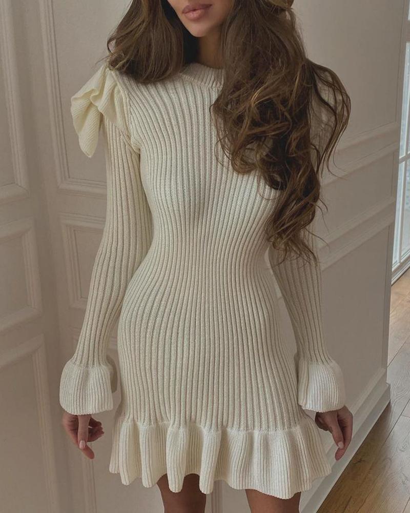Flutter Sleeve Ruffles Plain Sweater Dress