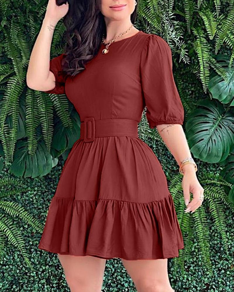 Solid Bloomer Sleeve Skinny Waist Ruffles Hem Mini Dress thumbnail