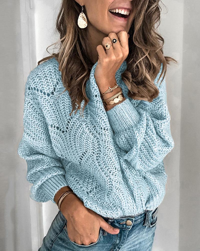 Solid Round Neck Weave Knit Sweater thumbnail