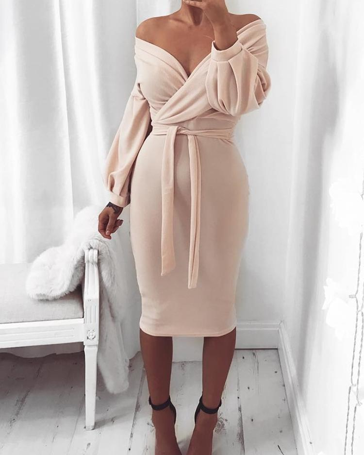 Joyshoetique coupon: Off Shoulder Twisted Waist Tie Sexy Midi Dress