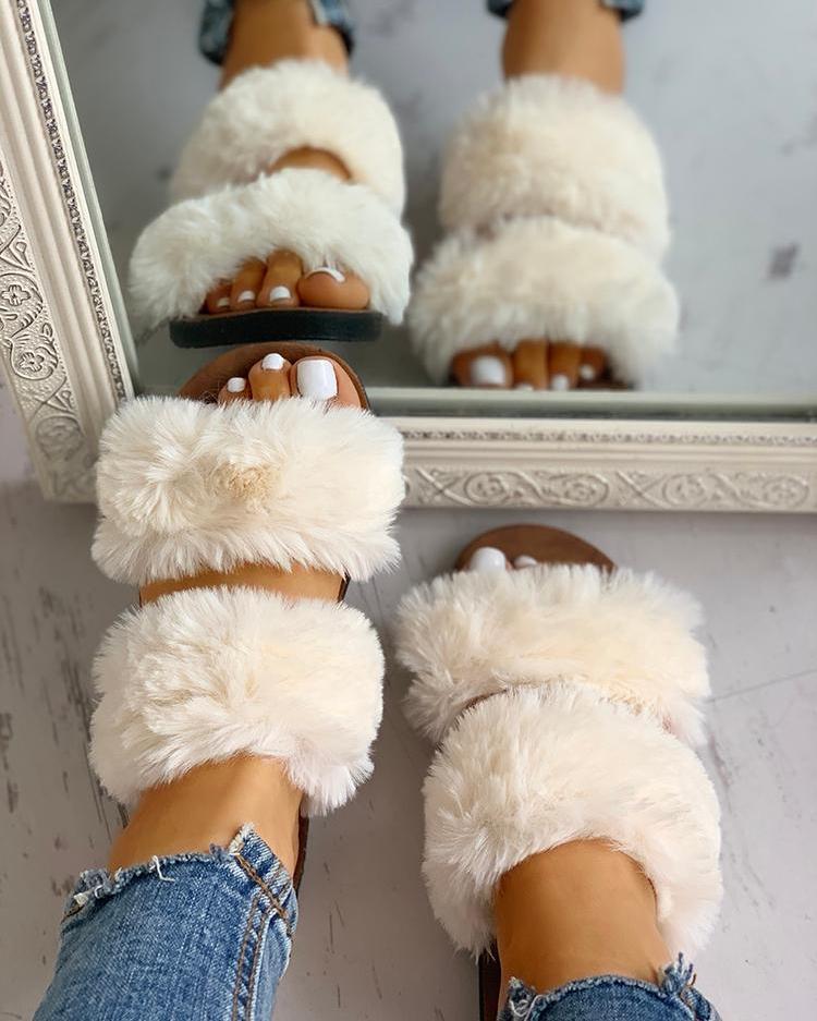 Fluffy Design Open Toe Flat Shoes