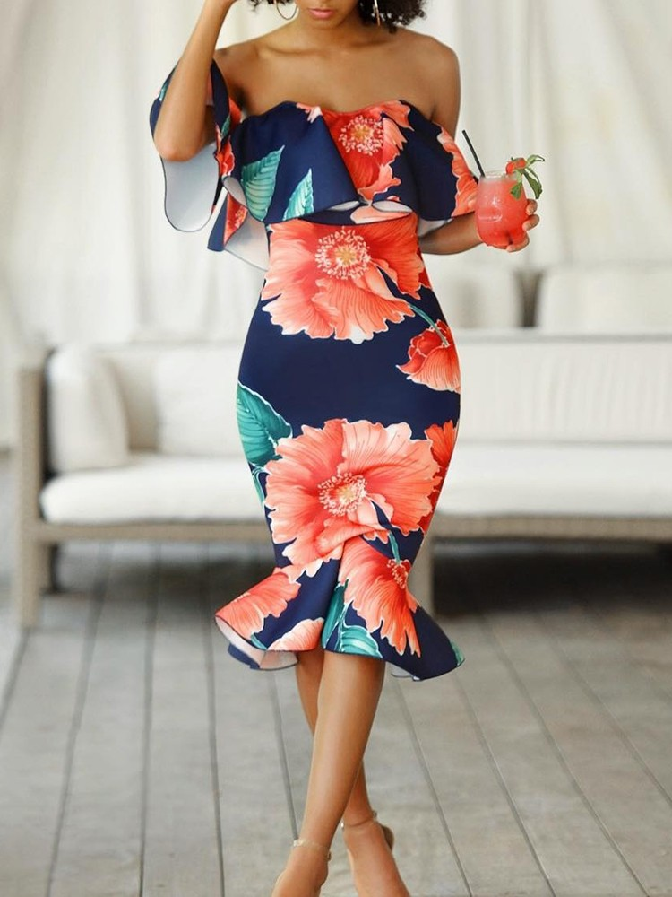 Stylish Ruffled Off Shoulder Floral Bodycon Dress