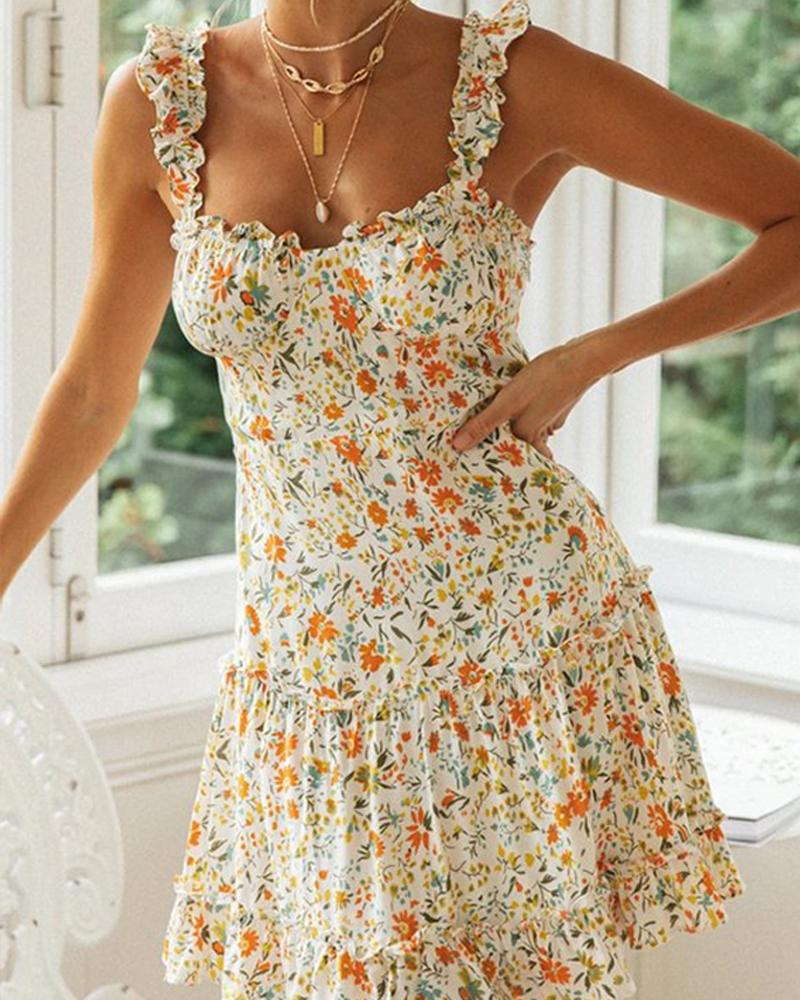 Floral Print Ruffle Trim Mini Dress thumbnail