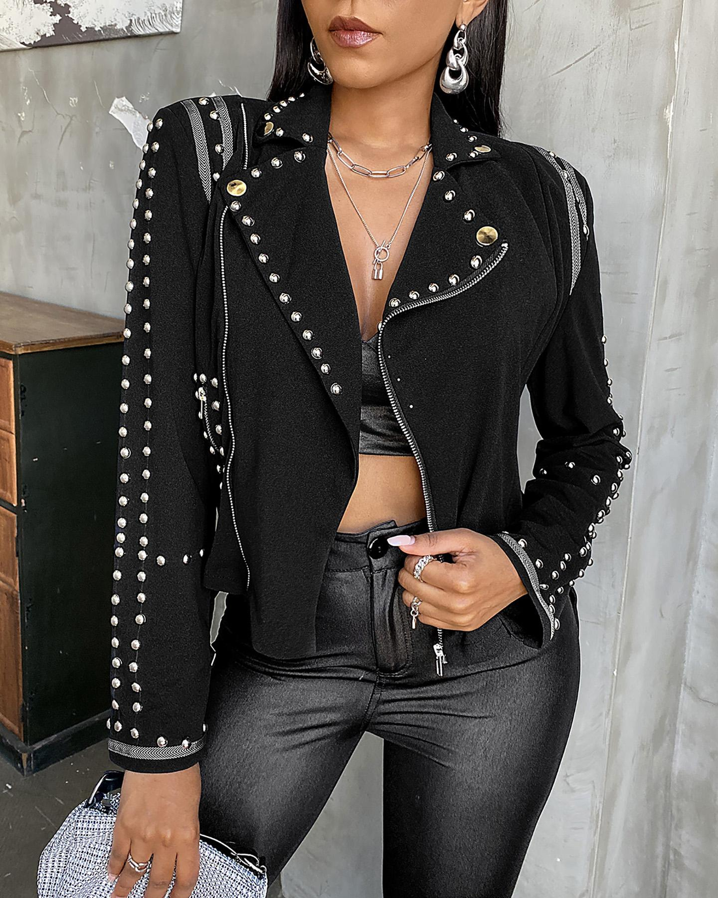 Rivets Long Sleeve Fit Jackets
