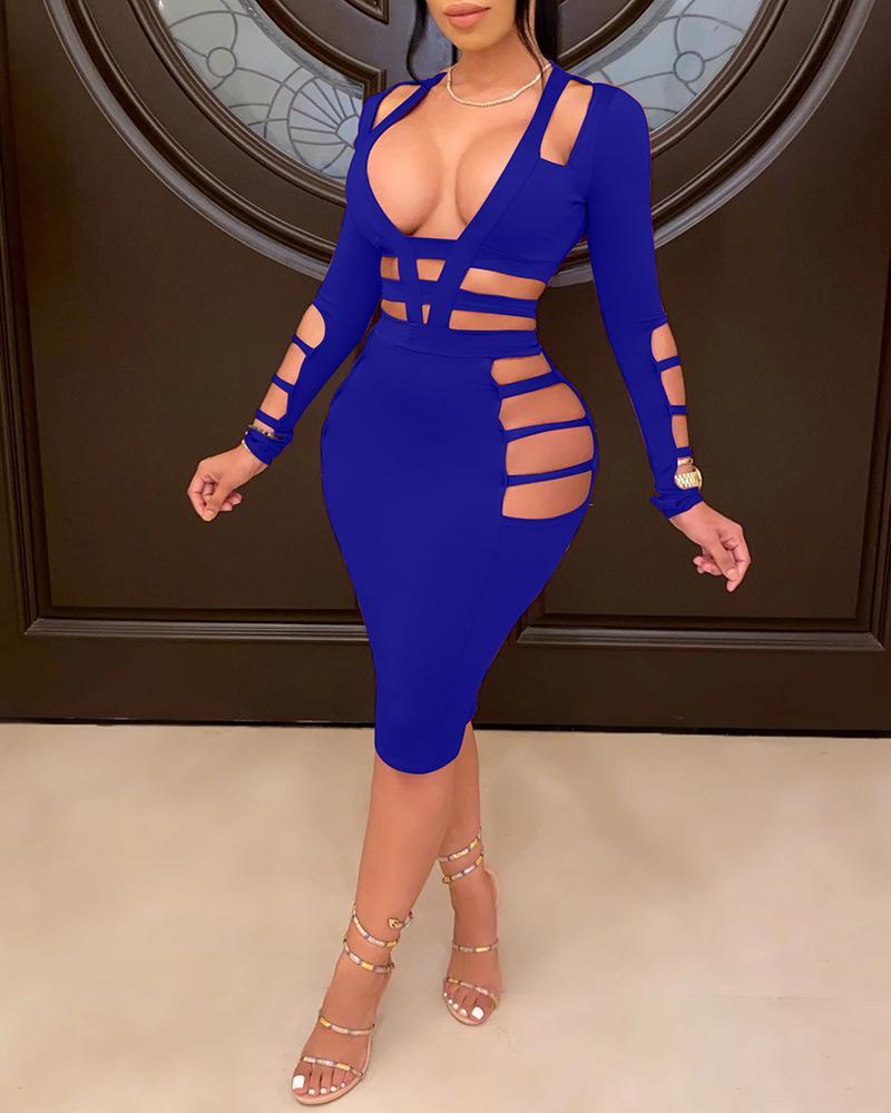 Plain Ladder Cutout Long Sleeve Midi Dress, Blue