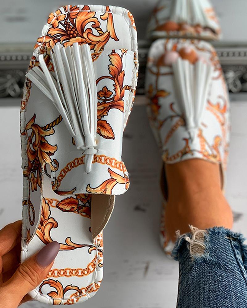 Scarf Print Tassel Design Square Toe Flat Sandals, White