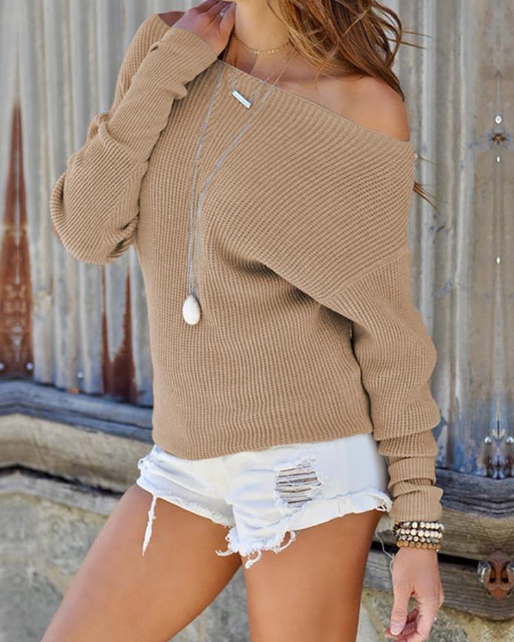 Solid Off Shoulder Casual Sweater thumbnail