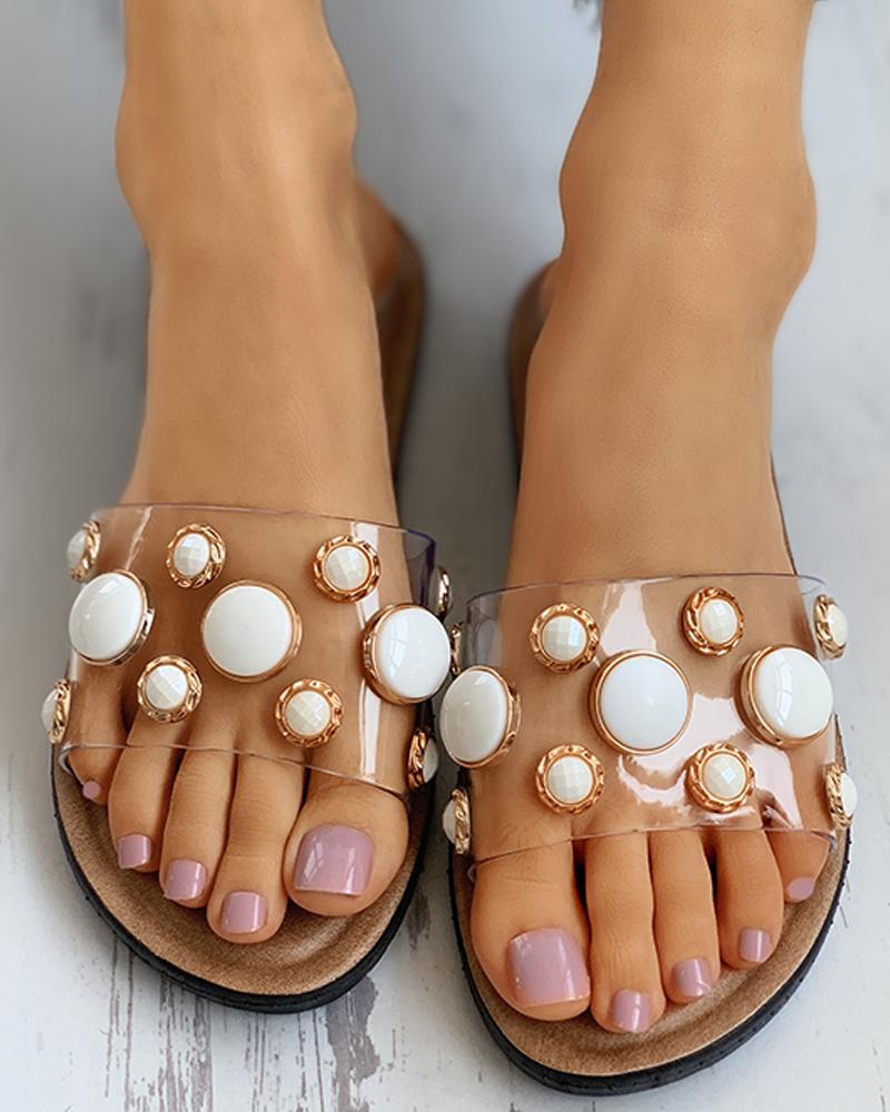 Beaded Transparent Strap Flat Sandals thumbnail