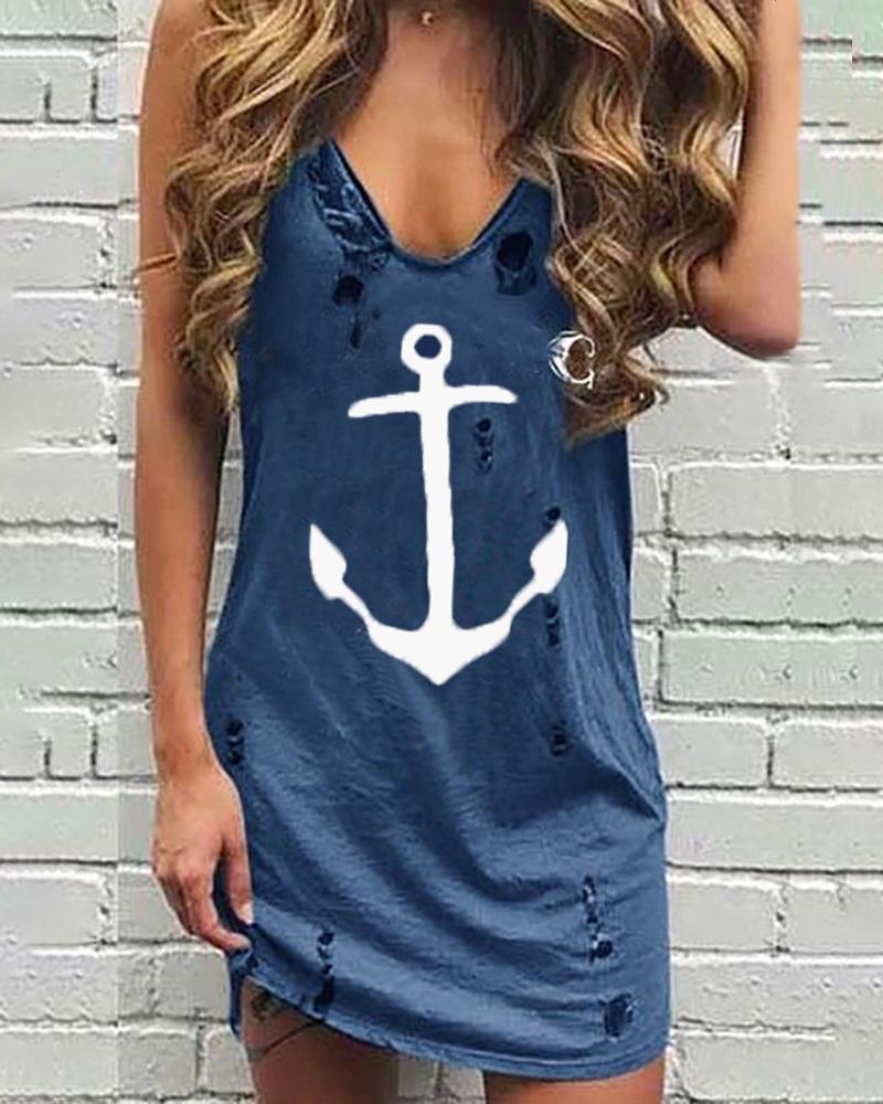 Boat Anchor Print Hollow Out Casual Dress thumbnail